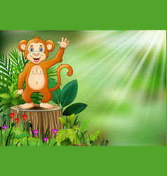 cute monkey cartoon waving and standing on tree st vector image