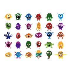 Cute monsters Big set of cartoon monsters vector