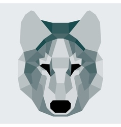 Dark green low poly wolf vector