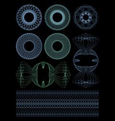 Decorative rosettes guilloche vector image