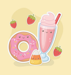 Delicious and sweet milkshake and products kawaii vector