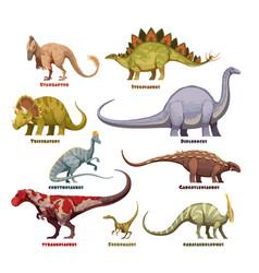dinosaurs cartoon set with names vector image