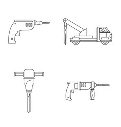 Drilling machine electric icons set outline style vector