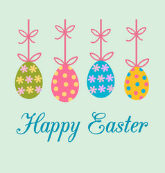 easter greeting card with colorful decorated vector image