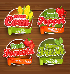 Farm fresh food label vector