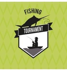 Fisherman on boat design camp concept sport vector image