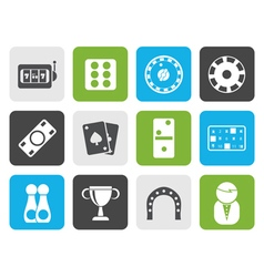 Flat gambling and casino icons vector