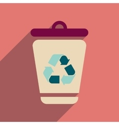 Flat web icon with long shadow trash box vector