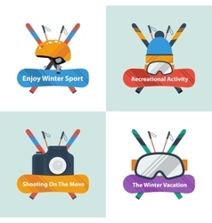Four winter sport concept with text vector image