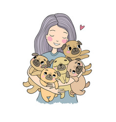 girl with funny cute pugs cartoon cheerful dogs vector image
