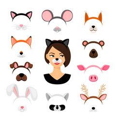 Girls animals masks set vector
