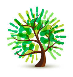 Green human hand print tree for ecology help vector