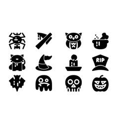 halloween celebration icon template set vector image