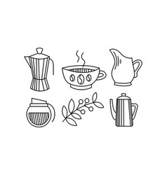 hand drawn kitchen utensils coffee themed vector image