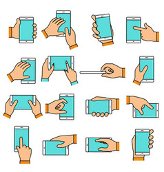 hand gesture on touch screen vector image