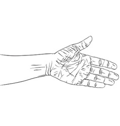 Hand prepared for handshake detailed black and vector