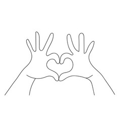 hands making heart shape love sign concept vector image