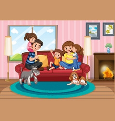 happy family at home vector image