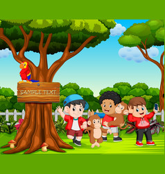 Happy kids and monkey playing in beautiful nature vector