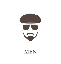 Head of bearded man with tweed cap and sunglasses vector