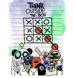 I doodle think outside box concept vector