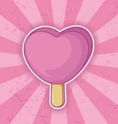 icecream pink heart vector image
