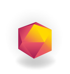 Icosahedron - 3d geometric shape with holographic vector