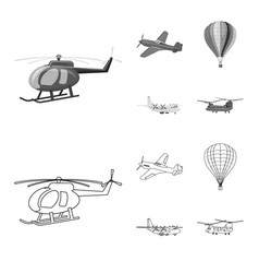 Isolated object of plane and transport sign vector