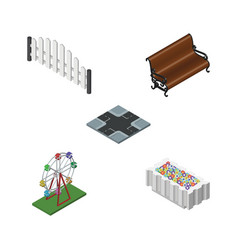 Isometric architecture set of sitting recreation vector