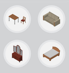 Isometric furnishing set of chair drawer couch vector