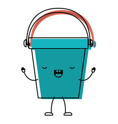 kawaii cartoon bucket with handle i in colorful vector image