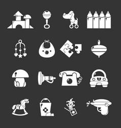 Kindergarten icons set grey vector