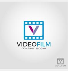 letter v video film logo template vector image