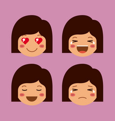 little girls emoticon set kawaii characters vector image