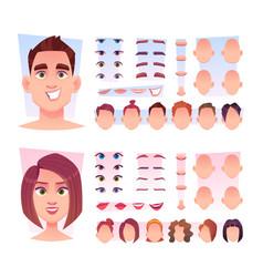 Male face constructor man face parts avatar vector