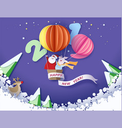 Merry christmas card color paper cut design vector