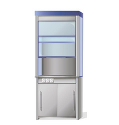 metal cabinet with glass doors vector image