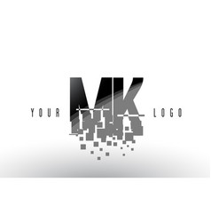 Mk m k pixel letter logo with digital shattered vector