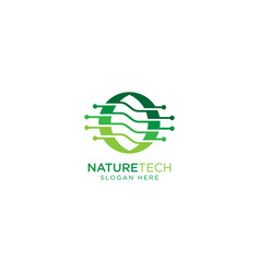 Nature tech and leaf logo design template vector
