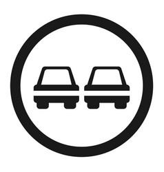 No overtaking prohibited sign line icon vector