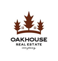 oak house real estate logo vector image