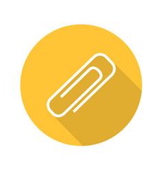Paper clip flat design long shadow glyph icon vector