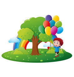 park scene with boy and balloons vector image