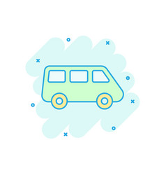 passenger minivan sign icon in comic style car vector image