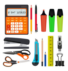pencils pens and other different office stationery vector image
