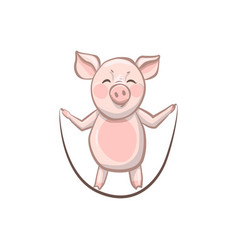 pig grins jumps rope funny pig who are engaged vector image