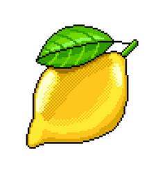 pixel lemon fruit detailed isolated vector image