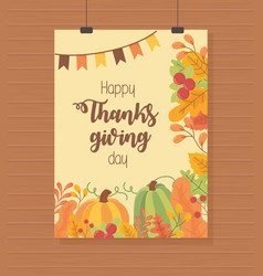 pumpkins garland foliage leaves happy thanksgiving vector image