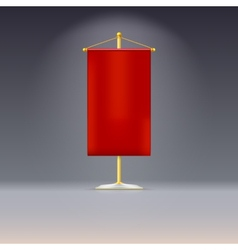 Red pennant or flag on yellow base with vector image