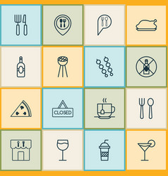 restaurant icons set with roasted hen bbq wine vector image